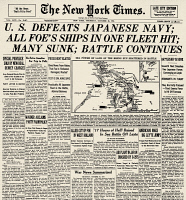 0109898 © Granger - Historical Picture ArchiveWORLD WAR II: LEYTE GULF.   Front page of the New York Times, 26 October 1944, reporting on United States victory over Japanese naval forces at the Battle of Leyte Gulf.