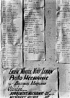 0114748 © Granger - Historical Picture ArchiveJAPANESE INTERNMENT, 1943.   Notices of available employment posted on a bulletin board at the Manzanar Relocation Center for Japanese-Americans at Owens Valley, California. Photograph by Ansel Adams, 1943.