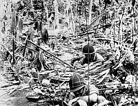 0132576 © Granger - Historical Picture ArchiveWORLD WAR II: GUADALCANAL.   Two U.S. Marines in foxholes on Guadalcanal in the Solomon Islands, probably 1942.