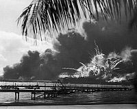 0162688 © Granger - Historical Picture ArchiveWORLD WAR II: PEARL HARBOR.   The American destroyer USS Shaw exploding in the dry dock during the Japanese attack on Pearl Harbor, Hawaii, 7 December 1941.