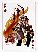 0166590 © Granger - Historical Picture ArchiveWORLD WAR II: CARTOON, 1945.   Playing card, King of diamonds, showing Adolf Hitler and Josef Goebbels burning books, and three men hanging. Cartoon by Arias Bernal, 1945.