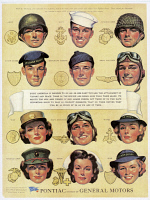 0166650 © Granger - Historical Picture ArchiveWORLD WAR II: U.S. FORCES.   Advertisement by Pontiac and General Motors honoring the men and women in different branches of the armed forces during World War II.