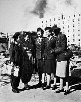 0167061 © Granger - Historical Picture ArchiveTOKYO: WAC OFFICERS, 1945.   Three Women's Army Corps officers in Tokyo to supervise offices employing Japanese civilians, getting a tour of the city, 14 November 1945.