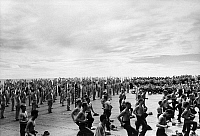 0167273 © Granger - Historical Picture ArchiveAIRCRAFT CARRIER: EXERCISE.   The crew of the aircraft carrier USS Lexington exercising on the flight deck during World War II. Photograph, c1943.