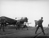 0167296 © Granger - Historical Picture ArchiveWWII: AIRCRAFT CARRIER.   An F6F Hellcat fighter plane loaded with rockets takes off from the USS Hancock aircraft carrier for an attack on the French Indochina coast, 19 February 1945.