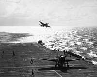 0167298 © Granger - Historical Picture ArchiveWWII: AIRCRAFT CARRIER.   F6F Hellcats returning returning to a U.S. Navy aircraft carrier after a raid on Formosa, Taiwan, during World War II, c1943.