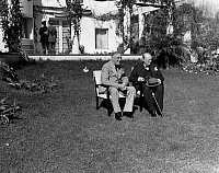 0170585 © Granger - Historical Picture ArchiveCASABLANCA CONFERENCE.   President Franklin D. Roosevelt of the United States and Prime Minister Winston Churchill of Great Britain (right) photographed on the lawn of the Hotel Anfa in Casablanca, Morocco, during the Casablanca Conference, January 1943.