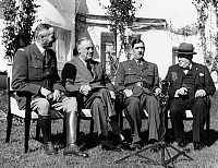 0170586 © Granger - Historical Picture ArchiveCASABLANCA CONFERENCE.   Allied leaders meeting at the Casablanca Conference, at the Hotel Anfa in Casablanca, Morocco, January 1943. Left to right: General Henri Honoré Giraud, High Commissioner of French North Africa; U.S. President Franklin D. Roosevelt; General Charles de Gaulle, leader of the Free French; and British Prime Minister Winston Churchill.