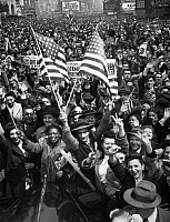 0175097 © Granger - Historical Picture ArchiveNEW YORK: V-E DAY, 1945.   Crowds celebrating in Times Square, New York City, as Germany surrendered during World War II, 7 May 1945.