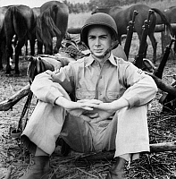 0183640 © Granger - Historical Picture ArchiveMARION HARGROVE (1919-2003).   American writer. Photographed in uniform at Fort Riley, Kansas, 1942.