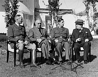 0183663 © Granger - Historical Picture ArchiveCASABLANCA CONFERENCE.   Allied leaders at the Casablanca Conference held at the Hotel Anfa in Casablanca, Morocco, January 1943. Left to right: General Henri Honoré Giraud, Franklin D. Roosevelt, General Charles de Gaulle, and Winston Churchill.