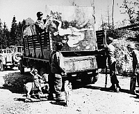 0183710 © Granger - Historical Picture ArchiveWWII: STOLEN ART, 1945.   American soldiers loading works of art stolen by Hermann Goering onto a truck. Photograph, 1945.