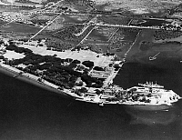 0183717 © Granger - Historical Picture ArchiveWWII: PHILIPPINES, 1941.   Aerial view of Olongapo Naval Station in Subic Bay, Philippines. Photograph, 1941.