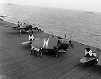 0216457 © Granger - Historical Picture ArchiveWWII: USS ESSEX, 1945.   F6F fighter planes on the deck of the USS Essex. Photograph, 19 April 1945.