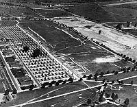 0216616 © Granger - Historical Picture ArchiveU.S. ARMY: FORT DIX, 1940.   Aerial view of the grounds of Fort Dix, New Jersey; the tents house National Guardsmen. Photograph, 1940.
