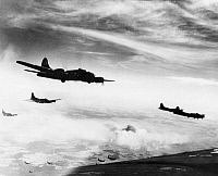 0216664 © Granger - Historical Picture ArchiveWORLD WAR II: B-17s, c1944.   B-17 Flying Fortresses of the U.S. Air Force flying over Schweinfurt, Germany. Photograph, c1944.