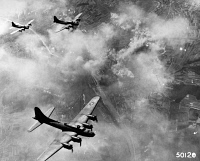 0216705 © Granger - Historical Picture ArchiveWORLD WAR II: AIR RAID.   U.S. Air Force B-47 Flying Fortress bombers over Schweinfurt, Germany. Photograph, 19 August 1943.