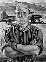 0216762 © Granger - Historical Picture ArchiveWORLD WAR II: SERGEANT.   Master Sergeant Richard Olsen of the U.S. Army Air Corps. Painting by Charles Baskerville, c1944.