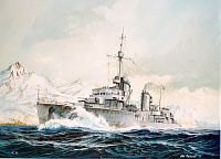 0266356 © Granger - Historical Picture ArchiveWWII: BATTLE OF NARVIK.   The German destroyer Erich Koellner pursuing British units in the Narvik Fjord in Norway during the Battle of Narvik, April-June 1940. Painting by Olaf Rahardt, 2002.