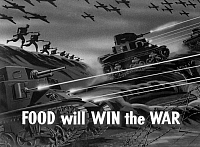 0322752 © Granger - Historical Picture ArchiveWWII: FILM STRIP, 1942.   A slide from the slide film 'Today's Storage is Tomorrow's Dinner,' promoting responsible food production, storage and consumption during wartime, produced by the Farm Security Administration, 1942.