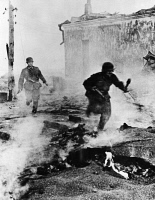 0350559 © Granger - Historical Picture ArchiveWWII: UKRAINE, c1941.   German troops fighting in the street, probably in Arbuzynka, Ukraine. Photograph, c1941.