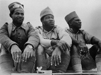 0351402 © Granger - Historical Picture ArchiveFRENCH FOREIGN LEGION, 1942.   Three French Foreign Legionnaires who distinguished themselves in the Battle of Bir Hakeim. They are from Senegal, Equatorial Africa, and Madagascar, respectively. Photograph, c1942.