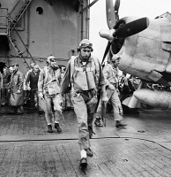 0527063 © Granger - Historical Picture ArchiveWWII: PILOT, c1943.   An American pilot on the deck of an aircraft carrier. Photograph, c1943.