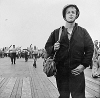 0527064 © Granger - Historical Picture ArchiveWWII: PILOT, c1943.   An American medic on the deck of an aircraft carrier. Photograph, c1943.