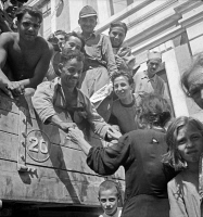 0527924 © Granger - Historical Picture ArchiveWWII: SICILY, 1943.   Sicilian soldiers returning home after being freed from prison camps by Allied forces. Photograph by Nick Parrino, 1943.
