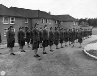 0528502 © Granger - Historical Picture ArchiveWWII: ARMY NURSES, c1943.   American nurses being inspected by staff officers at the Army nurse training center in England. Photograph, c1943.