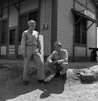 0529049 © Granger - Historical Picture ArchiveJAPANESE INTERNMENT, 1942.   Japanese American soldiers in Florin, California, on furlough from the U.S. Army to help their families prepare to relocate to internment camps for the duration of the war. Photograph by Dorothea Lange, 10 May 1942.