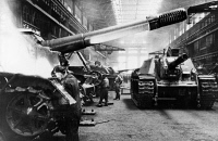 0621771 © Granger - Historical Picture ArchiveWWII: TANK PRODUCTION.   Soviet plant for assembling tanks in the Urals during World War II. Photograph, 1939-1945.