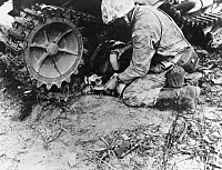 0623351 © Granger - Historical Picture ArchiveWORLD WAR II: TARAWA, 1943.   An American marine brings water to a kitten sheltering under the remains of a Japanese tank after the end of the Battle of Tarawa, Betio Island. Photograph, November 1943.