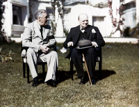 0623413 © Granger - Historical Picture ArchiveCASABLANCA CONFERENCE, 1943.   American President Franklin D. Roosevelt and British Prime Minister Winston Churchill at the Casablanca Conference in French Morocco. Photograph, 17 January 1943.
