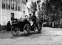 0350249 © Granger - Historical Picture ArchiveROMANOV FAMILY, 1912.   Empress Alexandra Feodorovna and Tsarevich Alexei leaving the Chudov Monastery after a procession in the Kremlin, Moscow, 1912. Full credit: ITAR-TASS Photo Agency / Granger, NYC -- All rights reserved.