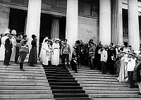 0350257 © Granger - Historical Picture ArchiveNICHOLAS II & ALEXANDRA.    Emperor Nicolas II of Russia and Empress Alexandra Feodorovna leaving the Cathedral of the Dormition in Smolensk, Russia, in 1912. Full credit: ITAR-TASS Photo Agency / Granger, NYC -- All rights reserved.
