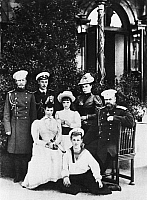 0350277 © Granger - Historical Picture ArchiveALEXANDER III (1845-1894).   Emperor Alexander III, his spouse Empress Maria Feodorovna, Grand Duchess Olga Alexandrovna, Grand Duchess Xenia Alexandrovna, Grand Duke Mikhail Alexandrovich, Grand Duke Georgy Alexandrovich, and Grand Duke Nikolai Alexandrovich, future Emperor Nicholas II. 1882. Full credit: ITAR-TASS Photo Agency / Granger, NYC -- All rights