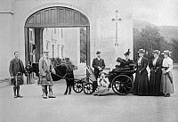 0350356 © Granger - Historical Picture ArchiveROYAL HOUSES, 1896.   Queen Victoria of the United Kingdom (sitting in carriage), Emperor Nicholas II of Russia, Empress Alexandra Feodorovna of Russia, Duke and Duchess of Connaught at Balmoral Castle, United Kingdom, in 1896.  Full credit: ITAR-TASS Photo Agency / Granger, NYC -- All rights reserv