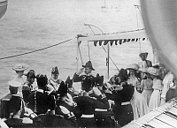 0350359 © Granger - Historical Picture ArchiveROYAL HOUSES, 1909.    Meeting of Emperor Nicholas II of Russia and King Edward VII of the United Kingdom on board the Russian Imperial Yacht 'Standart.' Empress Alexandra Feodorovna of Russia, Grand Duchesses Olga Nikolaevna, Tatiana Nikolaevna, and Maria Nikolaevna also on board. Photo, 1909. Full credit: ITAR-TASS Photo Agency / Granger, NYC -- All rights