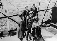 0350362 © Granger - Historical Picture ArchiveEDWARD VII & NICHOLAS II, 1908.   King Edward VII, Emperor Nicholas II of Russia, and Maria Feodorovna on board of Russian Imperial Yacht 'Polaris' in 1908. Full credit: ITAR-TASS Photo Agency / Granger, NYC -- All rights reserved.