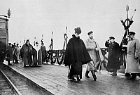0350395 © Granger - Historical Picture ArchiveNICHOLAS II & ALEXANDRA.    Emperor Nicholas II of Russia and Empress Alexandra Feodorovna of Russia seen at a railway station in Spala, Poland. Photograph, 1890s.  Full credit: ITAR-TASS Photo Agency / Granger, NYC -- All rights reserved.