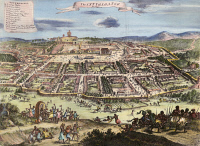 0008468 © Granger - Historical Picture ArchiveLOANGO, AFRICA.   The city of Loango, near the mouth of the Congo River on the west coast of Africa. Color engraving, 18th century.