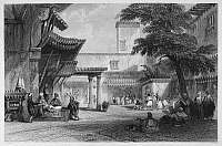 0095476 © Granger - Historical Picture ArchiveALGIERS: BAZAAR.   'Bazaar of the Fig Tree, Algiers.' Steel engraving, English, 1840.