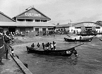 0114061 © Granger - Historical Picture ArchiveGHANA: ACCRA HARBOR, 1958.   Surf boats in the harbor of Accra, the capital of Ghana, 1958.