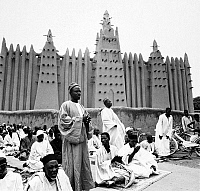 0114071 © Granger - Historical Picture ArchiveMALI: MOSQUE, 1967.  Friday prayer in front of the mosque in the town of Mopti on the Niger River in Mali, 1967.