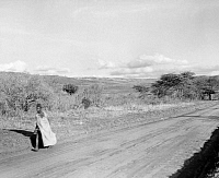 0124046 © Granger - Historical Picture ArchiveKENYA: HIGHWAY, 1936.   Scene along a highway in the Rift Valley in Kenya. Photographed in 1936.