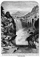 0132590 © Granger - Historical Picture ArchiveUGANDA: MURCHISON FALLS.   A view of Murchison Falls, where the waters of the Nile flow into Lake Albert in western Uganda. Wood engraving, English, 1866, after Edmund Morison Wimperis.