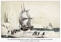 0028909 © Granger - Historical Picture ArchiveJULES DUMONT D'URVILLE (1790-1842).   Jules Sebastien Cesar Dumont D'Urville. French navigator. Dumont D'Urville's frigate 'Astrolabe' caught between icebergs in the Antarctic, 1838. After a contemporary German chromolithograph.