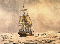0066419 © Granger - Historical Picture ArchiveANTARCTIC EXPEDITION, 1838.   The Astrolabe and the Zelee getting free of the ice floes in the Weddell Sea, off of Antarctica, February 9, 1838, during the second voyage of Dumont D'Urville (1839-1840). Lithograph, c1842, by Louis Le Breton.