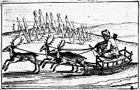 0107675 © Granger - Historical Picture ArchiveARCTIC SLEDDING, c1618.   Traveling through the Arctic regions on a reindeer sled. Woodcut, from Hieronymous Megiser's 'Septentrio novantiquus,' published at Leipzig, 1618.